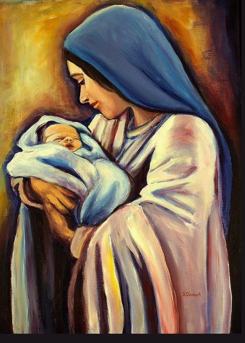 Madonna Greeting Card featuring the painting Madonna And Child by Sheila Diemert