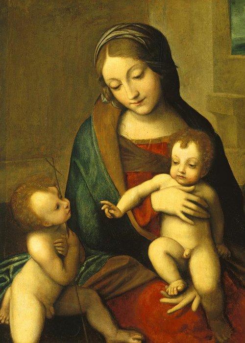 Virgin; Mary; Jesus; Christ; Baptist Greeting Card featuring the painting Madonna And Child With The Infant Saint John by Antonio Allegri Correggio