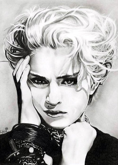 Madonna Greeting Card featuring the drawing Madonna by Fred Larucci