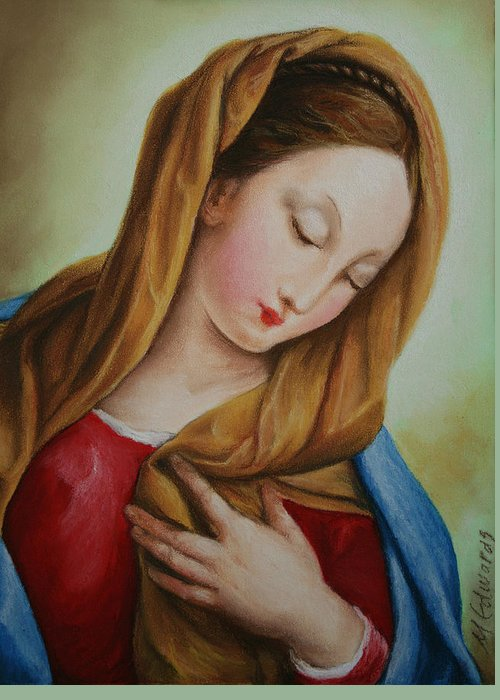 Madonna Greeting Card featuring the pastel Madonna by Marna Edwards Flavell