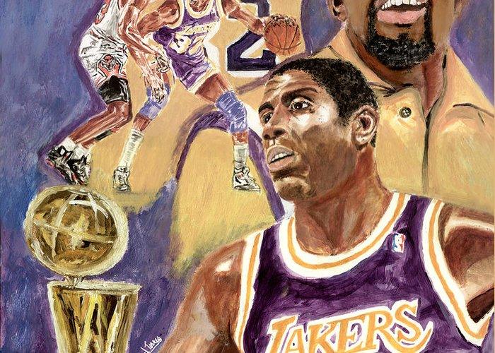 Magic Johnson Greeting Card featuring the painting Magic Johnson by Israel Torres