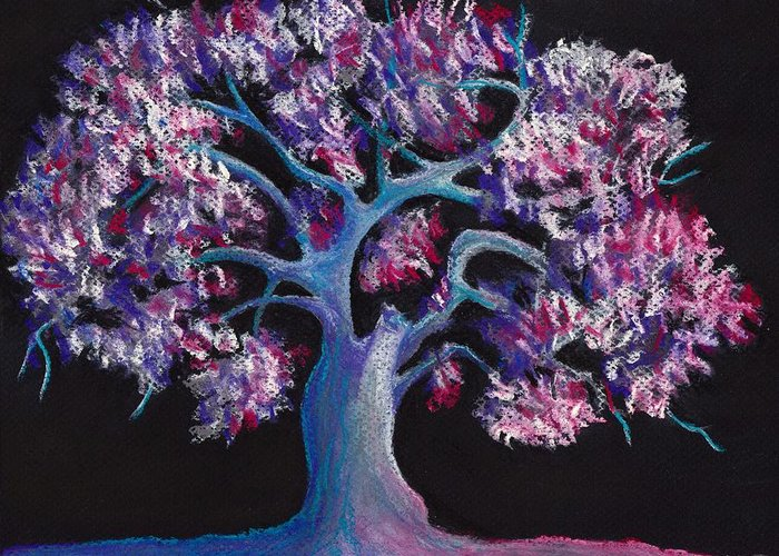 Malakhova Greeting Card featuring the drawing Magic Tree by Anastasiya Malakhova