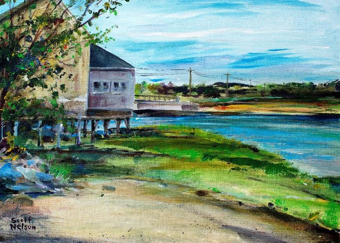 Billy's Cowder House Greeting Card featuring the painting Maine Chowder House by Scott Nelson