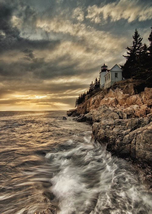 Bass Harbor Lighthouse Greeting Card featuring the photograph Maine Lighthouse by Chad Tracy