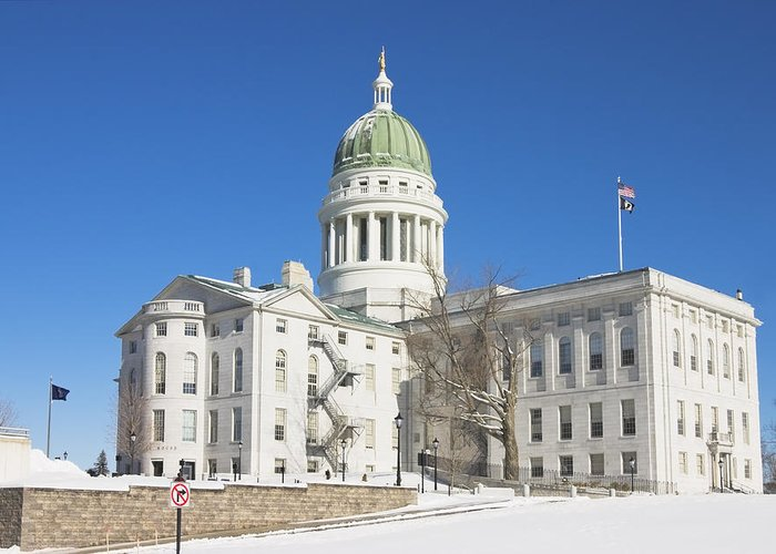 Maine Greeting Card featuring the photograph Maine State Capitol Building In Winter Augusta by Keith Webber Jr
