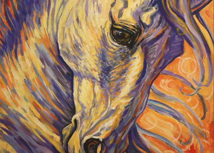Horse Greeting Card featuring the painting Majestic Lipizzan by Silvana Gabudean