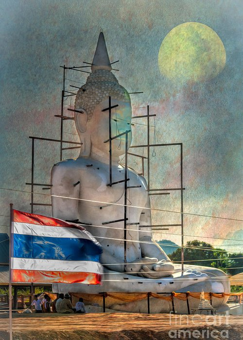 Hdr Greeting Card featuring the photograph Making Buddha by Adrian Evans