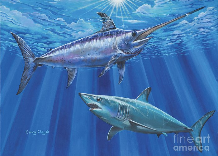 Swordfish Greeting Card featuring the painting Mako Sword Off0024 by Carey Chen