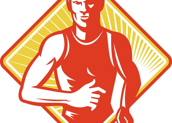 Marathon Greeting Card featuring the digital art Male Marathon Runner Running Retro Woodcut by Aloysius Patrimonio