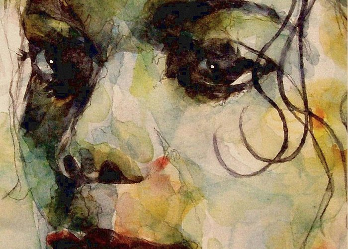 Michael Jackson Greeting Card featuring the painting Man In The Mirror by Paul Lovering