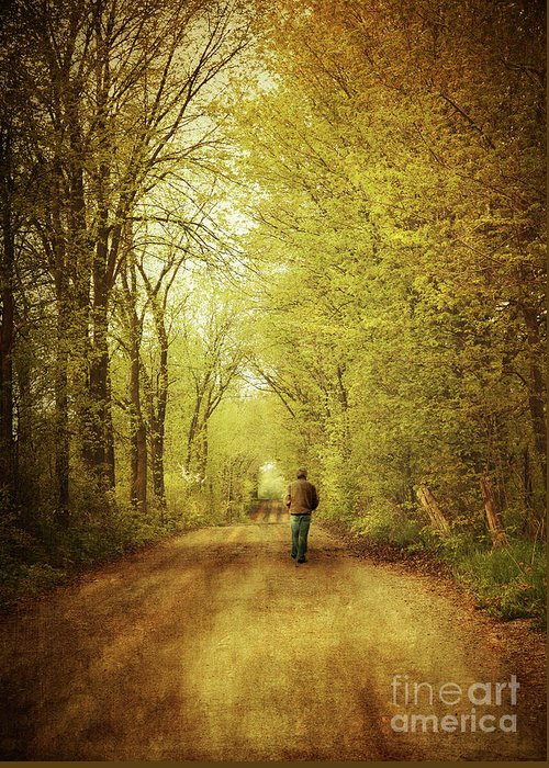 Afternoon Greeting Card featuring the photograph Man Walking On A Lonely Country Road by Sandra Cunningham
