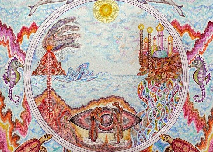 Mandala Greeting Card featuring the painting Mandala Atlanits by Lida Bruinen