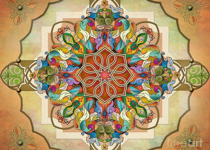 Mandala Greeting Card featuring the digital art Mandala Birds Sp by Bedros Awak