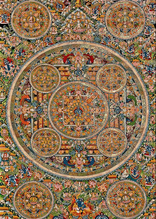 Mandala Of Heruka In Yab Yum And Buddhas Greeting Card featuring the photograph Mandala Of Heruka In Yab Yum And Buddhas by Lanjee Chee