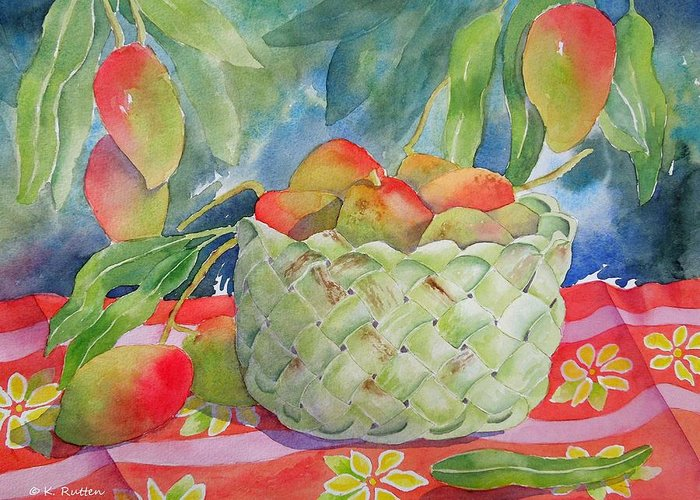 Mango's Greeting Card featuring the painting Mango Harvest by Kathleen Rutten