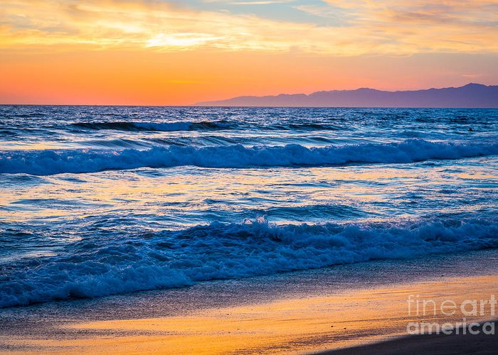 America Greeting Card featuring the photograph Manhattan Beach Sunset by Inge Johnsson