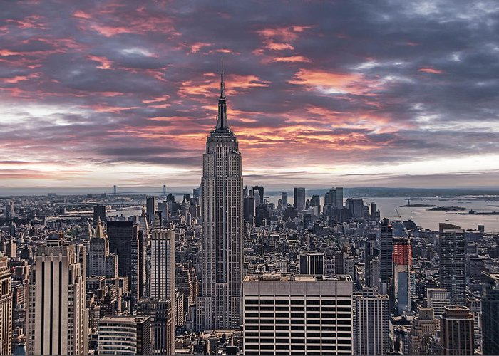 Manhattan Greeting Card featuring the photograph Manhattan Under A Red Sky by Joachim G Pinkawa