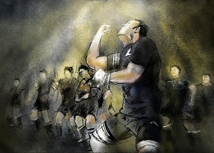 All Blacks Greeting Card featuring the painting Maori Haka by Miki De Goodaboom
