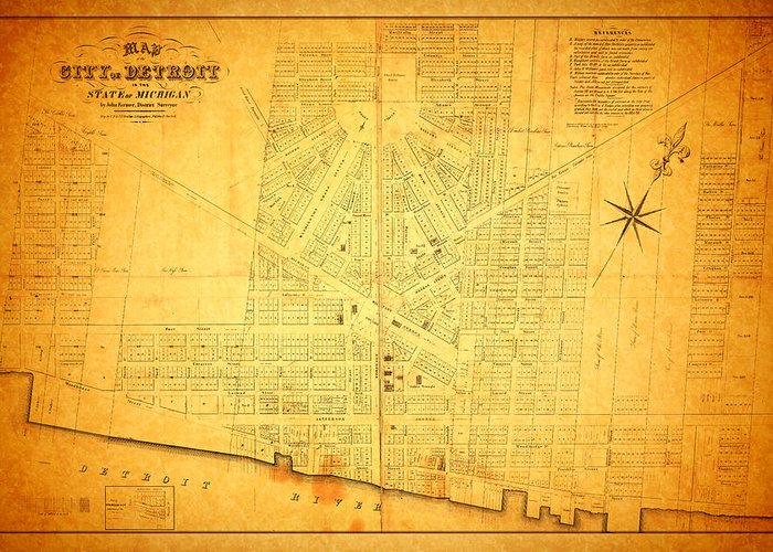 Detroit Greeting Card featuring the mixed media Map Of Detroit Michigan C 1835 by Design Turnpike