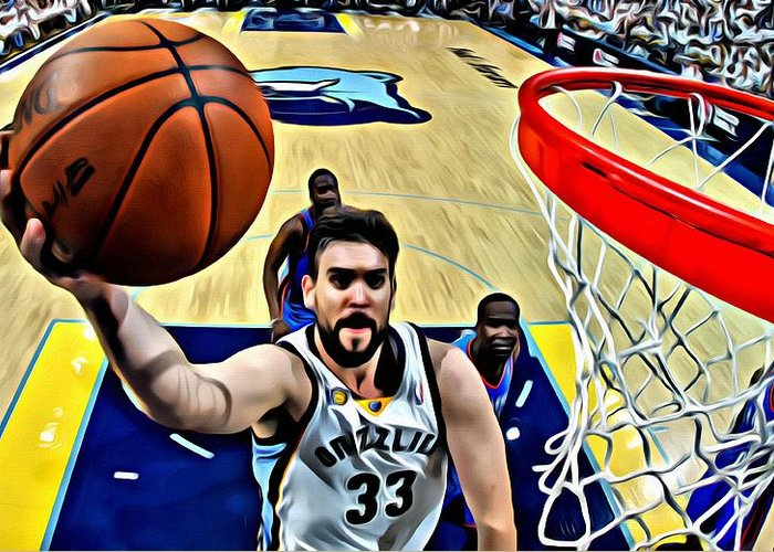 Nba Greeting Card featuring the painting Marc Gasol by Florian Rodarte