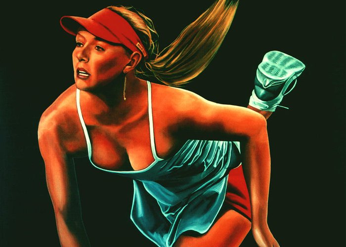 Paul Meijering Greeting Card featuring the painting Maria Sharapova by Paul Meijering
