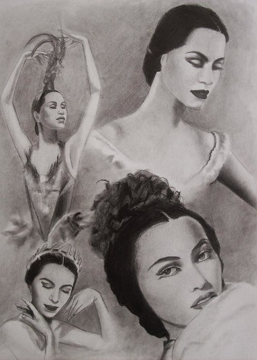 Ballerina Greeting Card featuring the drawing Maria Tallchief by Amber Stanford