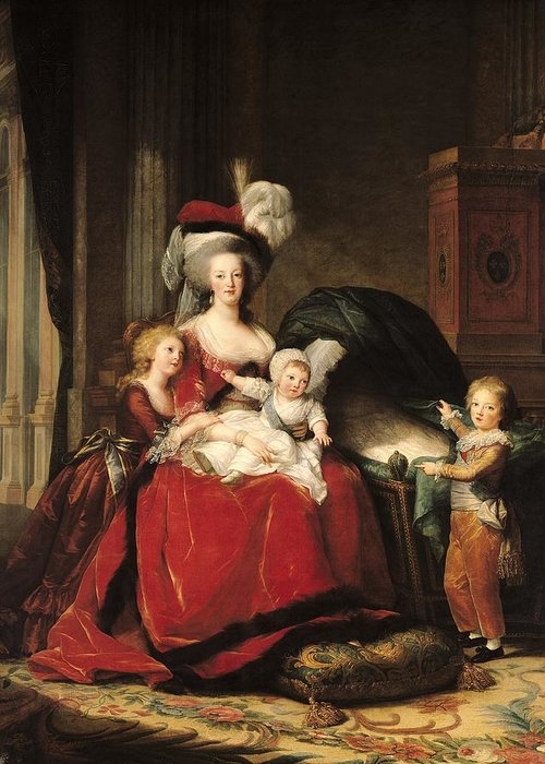 Marie Antoinette Greeting Card featuring the painting Marie Antoinette And Her Children by Elisabeth Louise Vigee-Lebrun