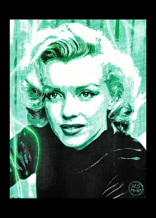 Marilyn Greeting Card featuring the digital art Marilyn Monroe - Green by Absinthe Art By Michelle LeAnn Scott