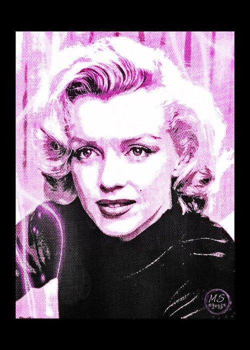 Marilyn Greeting Card featuring the digital art Marilyn Monroe - Pink by Absinthe Art By Michelle LeAnn Scott