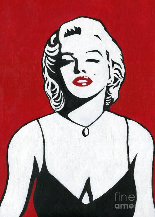 Marilyn Monroe Greeting Card featuring the painting Marilyn Monroe by Roz Abellera Art