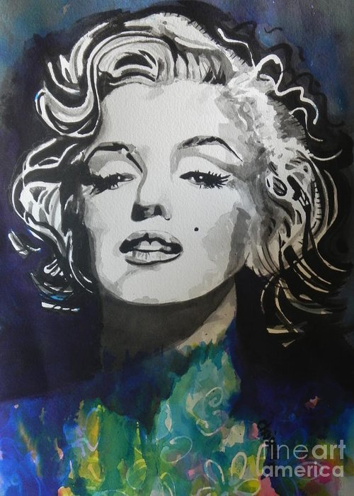 Watercolor Painting Greeting Card featuring the painting Marilyn Monroe..2 by Chrisann Ellis