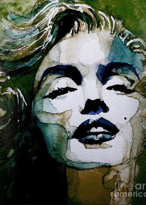 Marilyn Monroe . Legend Greeting Card featuring the painting Marilyn No10 by Paul Lovering
