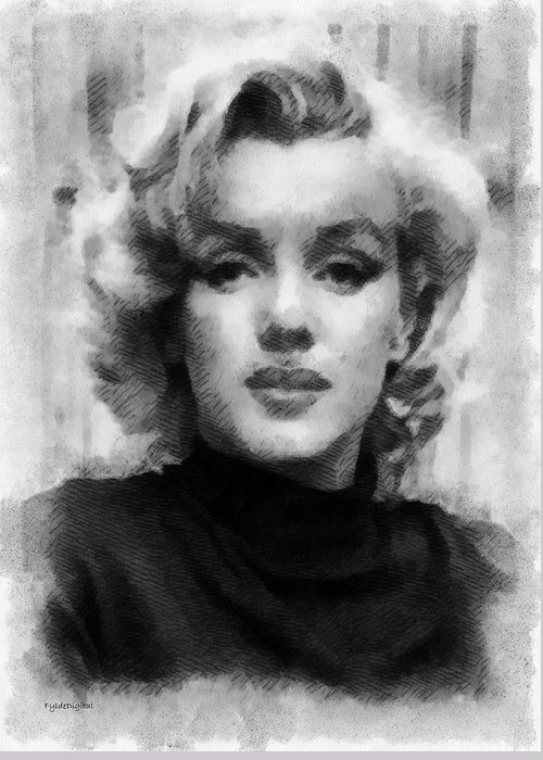 Marilyn Munroe Greeting Card featuring the painting Marilyn by Patrick OHare