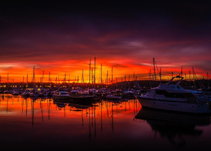 Chatham Greeting Card featuring the photograph Marina Sunset by Dawn OConnor