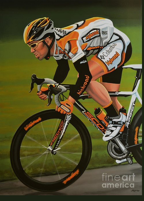 Mark Cavendish Greeting Card featuring the painting Mark Cavendish by Paul Meijering