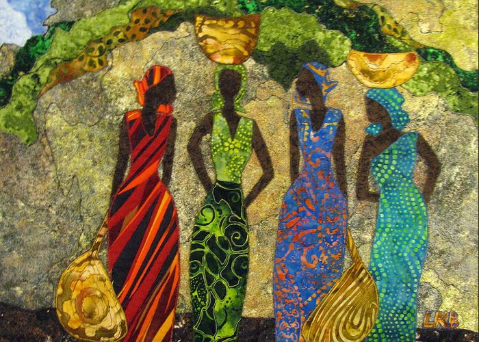 Women Tapestries - Textiles Greeting Card featuring the tapestry - textile Market Day #1 by Lynda K Boardman
