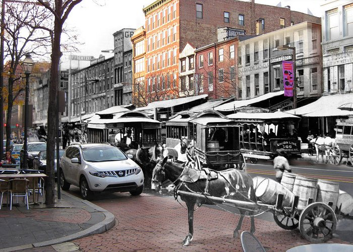 Philadelphia Greeting Card featuring the photograph Market Street In Old City by Eric Nagy