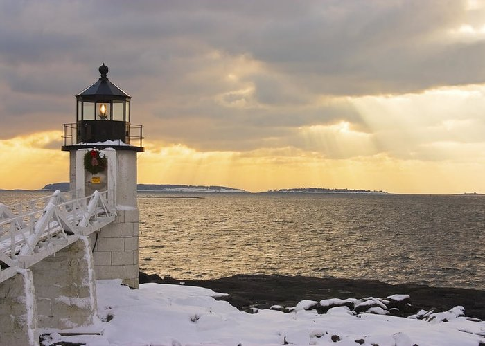 Winter Greeting Card featuring the photograph Marshall Point Lighthouse In Winter Maine by Keith Webber Jr