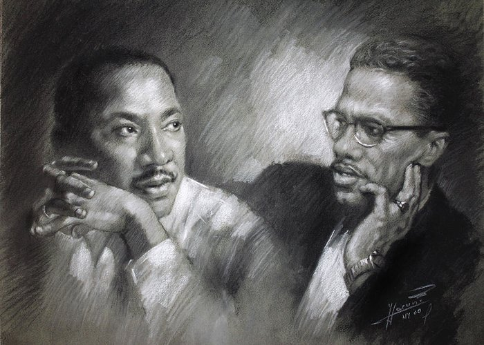 Malcolm X Greeting Card featuring the drawing Martin Luther King Jr And Malcolm X by Ylli Haruni