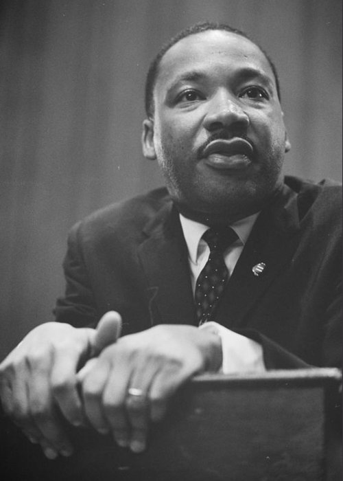 African; American; Black King; Southern; Leadership; Baptist; Civil; Rights; Leader; 1964 Greeting Card featuring the photograph Martin Luther King Press Conference 1964 by Anonymous