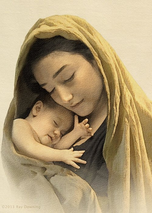 Jesus Greeting Card featuring the digital art Mary And Baby Jesus by Ray Downing