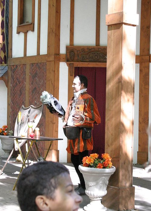 Maryland Greeting Card featuring the photograph Maryland Renaissance Festival - Johnny Fox Sword Swallower - 121210 by DC Photographer