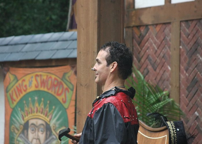 Maryland Greeting Card featuring the photograph Maryland Renaissance Festival - Johnny Fox Sword Swallower - 121271 by DC Photographer