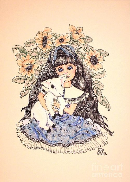 Girl Greeting Card featuring the drawing Mary's Lamb by Lenora Brown