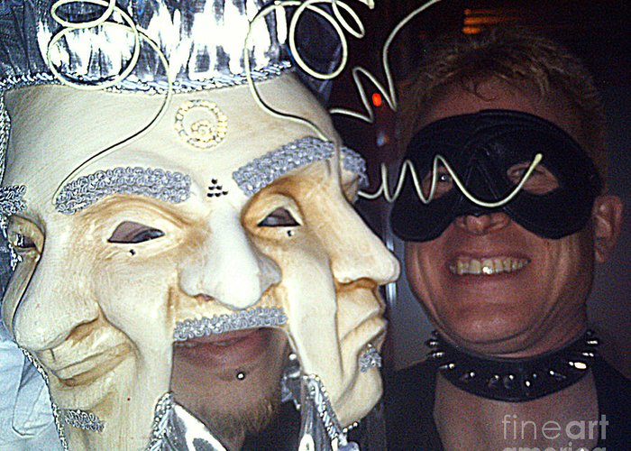 Masquerade Masked Frivolity Greeting Card featuring the photograph Masquerade Masked Frivolity by Feile Case