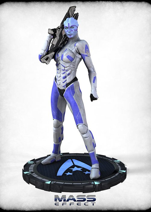 Mass Effect Greeting Card featuring the digital art Mass Effect - Asari Alliance Soldier by Frederico Borges