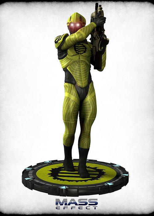 Game Greeting Card featuring the digital art Mass Effect - Eclipse Soldier by Frederico Borges