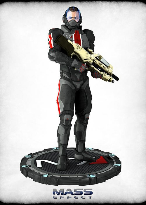 Mass Effect Greeting Card featuring the digital art Mass Effect - N7 Soldier by Frederico Borges