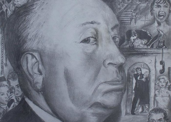 Alfred Hitchcock Greeting Card featuring the drawing Master Of Suspense by Jeremy Reed