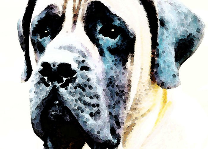Mastiff Greeting Card featuring the painting Mastif Dog Art - Misunderstood by Sharon Cummings